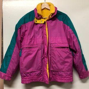 Vintage colorful windbreaker fleece jacket